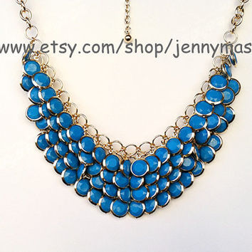 Blue-gold chain- Mermaid Necklace -Bubble Statement Necklace,holiday party,bridesmaid gift,bubble necklace,beaded jewelry with chain
