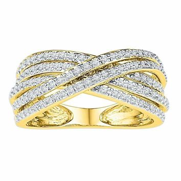 10kt Yellow Gold Women's Round Diamond Crossover Five Row Band Ring 5-8 Cttw - FREE Shipping (US/CAN)