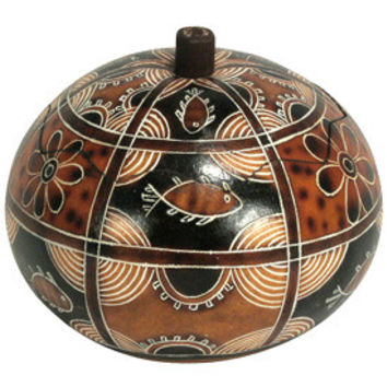Geometric Fish Gourd Box from Peru