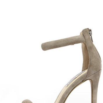 Steve Madden Fancci Taupe Suede Ankle Strap Heels