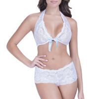 White Blue Lace Bow Accent Peek-A-Boo 2Pc. Undergarment