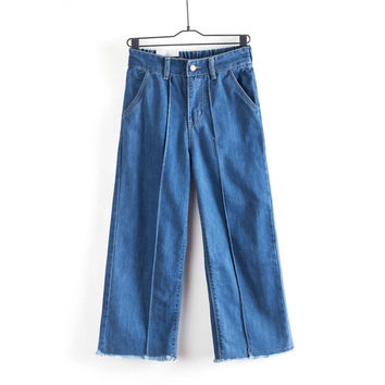 Summer Women's Fashion Korean High Rise Denim Pants [4920633604]
