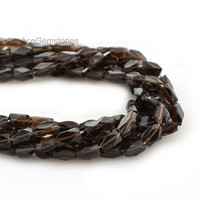 Superb Smoky Quartz Rectangle Tube Faceted Wholesale Gemstone Beads Necklace 35 cm Strand, Beads Supplies, A+ Grade