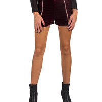 Double Front Zippered Velvet High Waisted Shorts - Burgundy