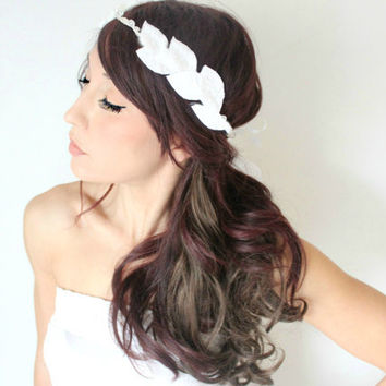Grecian Wedding Tiara Flower Crown White whimsical fairy by deLoop