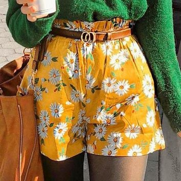 Casual Floral Print Basic Shorts Women High Waist Ruffle Chic Shorts Girl Holiday Shorts