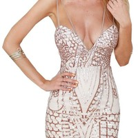 Champagne Sweetheart Geo Pattern Sequin Cami Bodycon Mini Dress