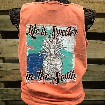Southern Chics Life is Sweeter in the South Pineapple Comfort Colors Bright T Shirt Tank Top