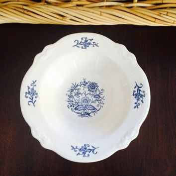 Homer Laughlin Bowl: Dresden, Rim Cereal Bowl, Imperial Blue, Made in the USA, Vintage China
