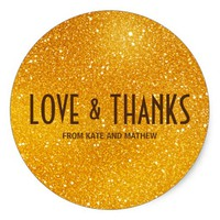 Golden Magic Lights Love & Thanks Round Sticker