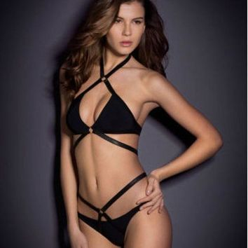 SIMPLE - Sexy Hot Black Strappy Hollow Bandage Women Two Piece Swimsuit Bathing Suit Bikini Set