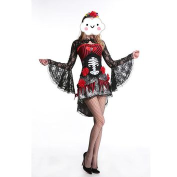 Hot Adult Skeleton Day of The Dead Costume Women's Sexy Sugar Skull Dia Flower Fairy Halloween ghost vampire bride Fancy Dress