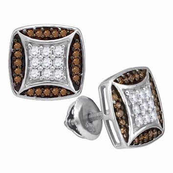 10kt White Gold Womens Round Cognac-brown Color Enhanced Diamond Square Cluster Earrings 1/2 Cttw