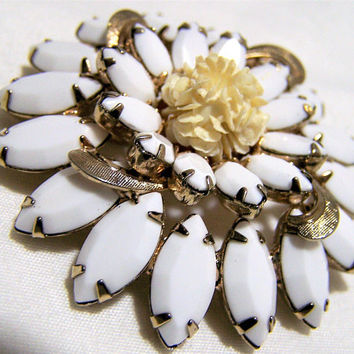 White Milk Glass Rhinestone Pin, Gold Tone Accents Round Brooch, Mid Century Vintage Jewelry, Costume Jewellery  517s