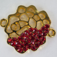 1PC - Flower Connector - Gold Toned with Red Rhinestones - 26mm