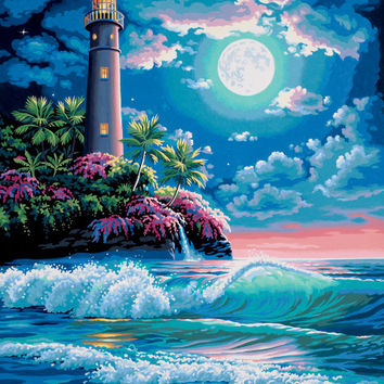 """Lighthouse in The Moonlight Painting Kit - 16"""" x 20"""""""