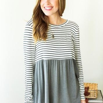 Sweet Tempered Color Block Stripe Tunic