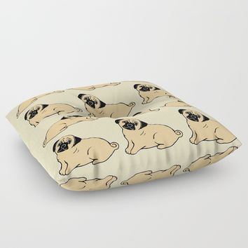 Pug Pattern Floor Pillow by Artist Abigail
