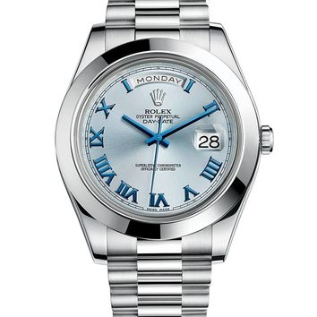 Rolex Day-Date II 41 President Platinum Watch Ice Blue Dial 218206 Box/Papers