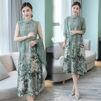 Summer Autumn New Chinese Style Retro Stand Collar Dress Temperament Long Flower Two-Piece Faux Silk Female Dresses