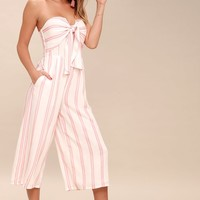Margo Blush Pink and White Striped Strapless Midi Jumpsuit