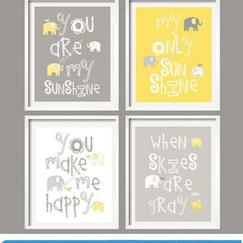 Kids Wall Art Yellow and Gray Nursery Decor Elephant Prints - You Are My Sunshine - Elephant Nursery - Boy Girl baby gift - Choose The Size