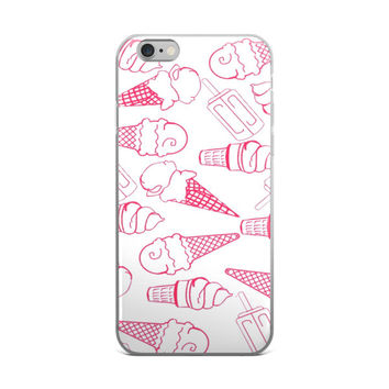 Ice Cream Cone Collage Teen Cute Girly Girls Pink & White iPhone 4 4s 5 5s 5C 6 6s 6 Plus 6s Plus 7 & 7 Plus Case