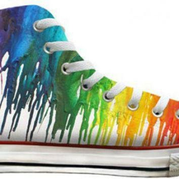 DCCKGQ8 ladies color crayon drip rainbow pride custom printed high top converse swarovski crys