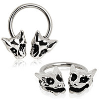 316L Surgical Steel Horse Shoe with Dragon Heads