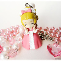 Marie Antoinette Rosary Necklace, Pink Rose Ring and Key Pendant, Silver Plated - Anime Jewelry Set