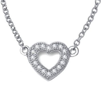 Lafonn Classic Sterling Silver Platinum Plated Lassire Simulated Diamond Necklace (0.18 CTTW)