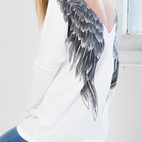 White Angel Wing Printed T-shirt