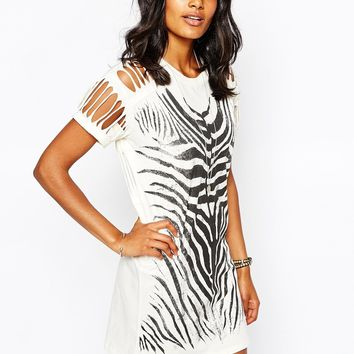 Diesel Laddered Shoulder Zebra Print Dress