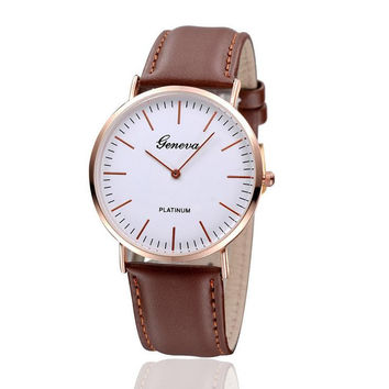 Geneva Unisex Leather Strap Watch
