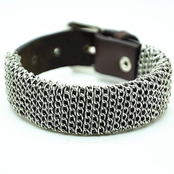 brown real leather bracelet, metal chain rivet, men's cuff bracelet, women's bracelet, cool bracelet  RZ0295