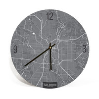 San Antonio, Texas, Map Art Wall Clock