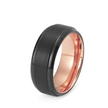 Black Tungsten Ring Rose Gold Wedding Band Ring Tungsten Carbide 8mm 18K Tungsten Ring Man Wedding Band Male Anniversary Mens Engagement Ring Brushed Stepped Edges Matching