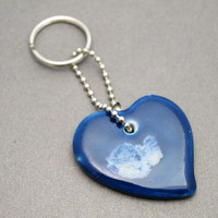 Blue And White Ceramic Heart Keychain