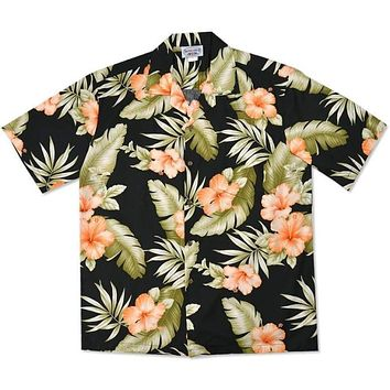 waimea black hawaiian cotton shirt