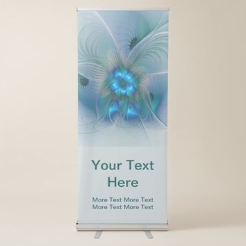 Standing Ovations Abstract Art Blue Turquoise Text Retractable Banner