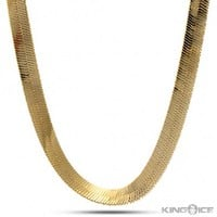 10mm King Ice 14K Gold Herringbone Chain | Hip Hop Jewelry | Urban Style Chain