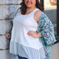 Ruffled Up Layering Tank in White {Curvy}