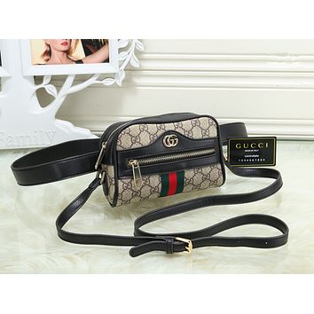 Gucci Women Shopping Leather Metal Chain Crossbody Satchel long paragraph Waist bag
