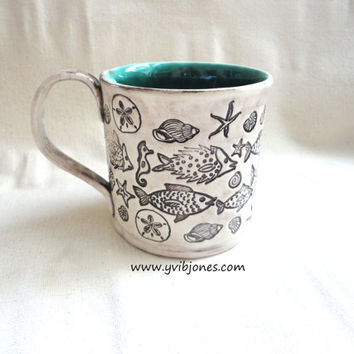 Fish Pottery Mug, Ceramic Coffee Mug, Large Tea Cup, Seafoam Green, Dark Turquoise