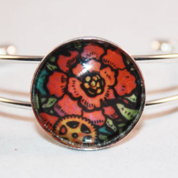 Silver Bangle Bracelet with Fall Colored Flower