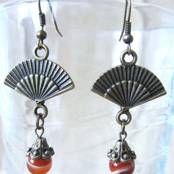 Bronze Fan, Ringed Agate Bead & Bronze Bead Caps Pierced Dangle Earrings, Handmade Original Fashion Jewelry, Bold Asian Inspired Gift Idea