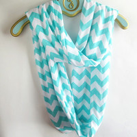 Tiffany blue Chevron infinity Scarf soft -Jersey knit: 15% off promo code: 15FORNEXT at checkout