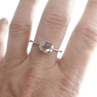 "RING ""GEO"" with Diamond in Sterling Silver. Handmade. Minimalistic. Wedding. Promise or Engagement Ring."