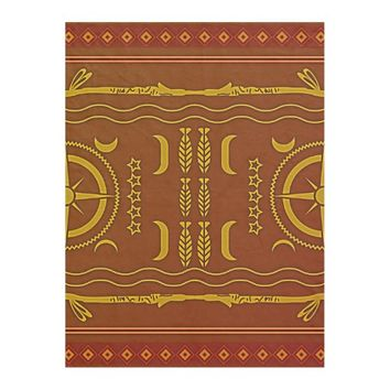 Golden Brown African Symbols Fleece Blanket