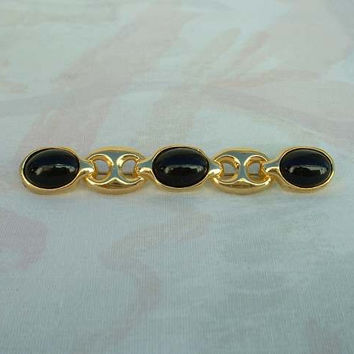 Paolo Gucci Black Cabochon Bar Brooch Pin Designer Jewelry